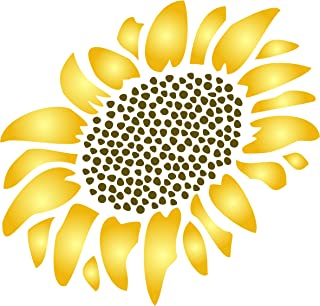 """Sunflower Stencil - (size 10.5""""w x 12""""h) Reusable Wall Stencils for Painting - Best Quality Wall Art Décor Ideas - Use on Walls, Floors, Fabrics, Glass, Wood, Terracotta, and More…"""