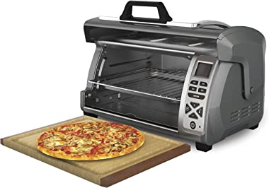 Hamilton Beach Digital Countertop Toaster Oven with Easy Reach Roll-Top Door, 6-Slice, With Bake Pan, Stainless Steel (31128)