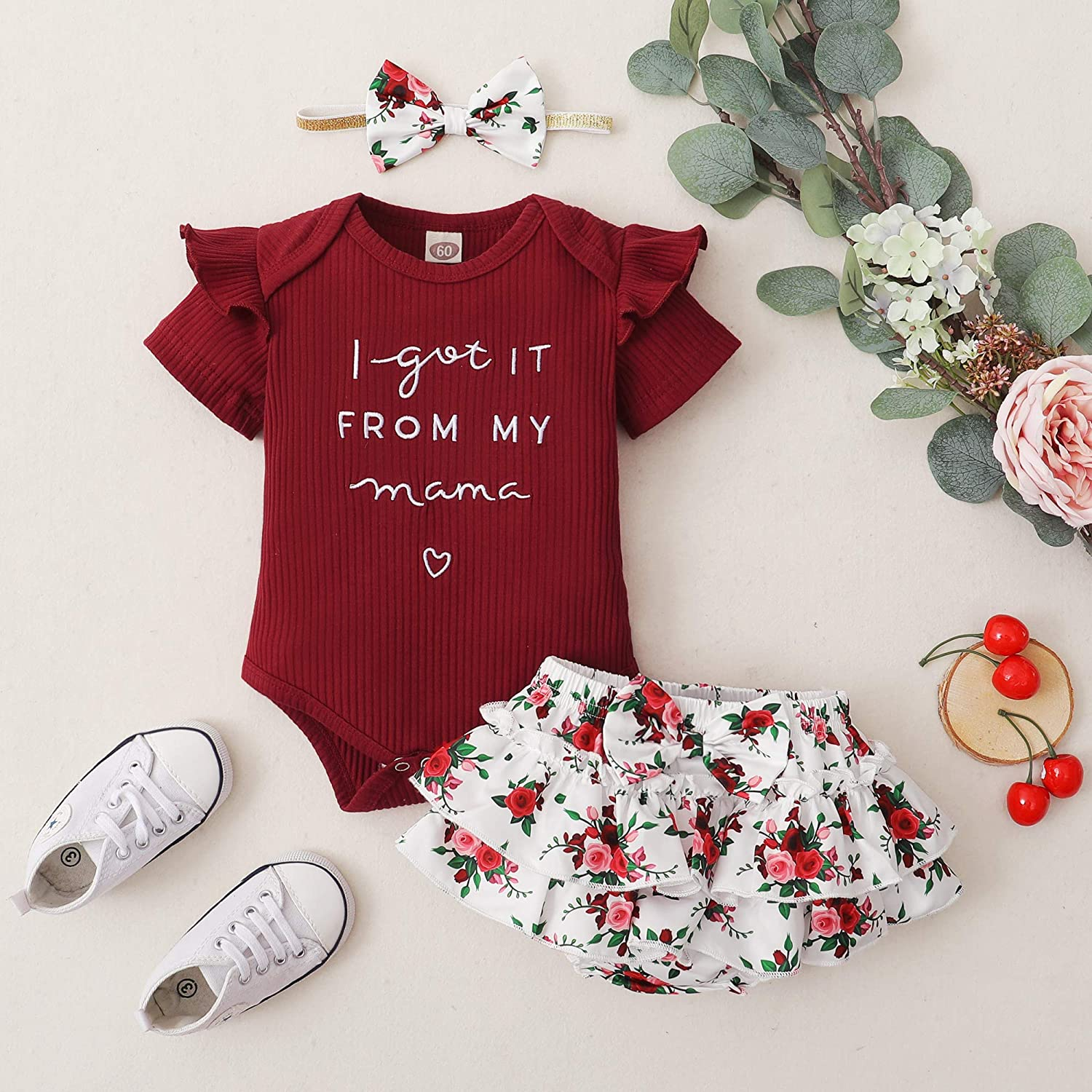 Newborn Baby Girl Clothes Infant Romper Onesie Floral Pants Outfits Set Cute Baby Clothes Girl