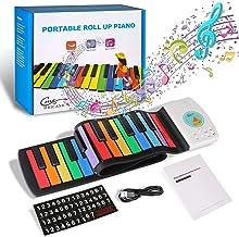 Hricane Kids Piano Keyboard Flexible Rainbow Roll Up Piano 4
