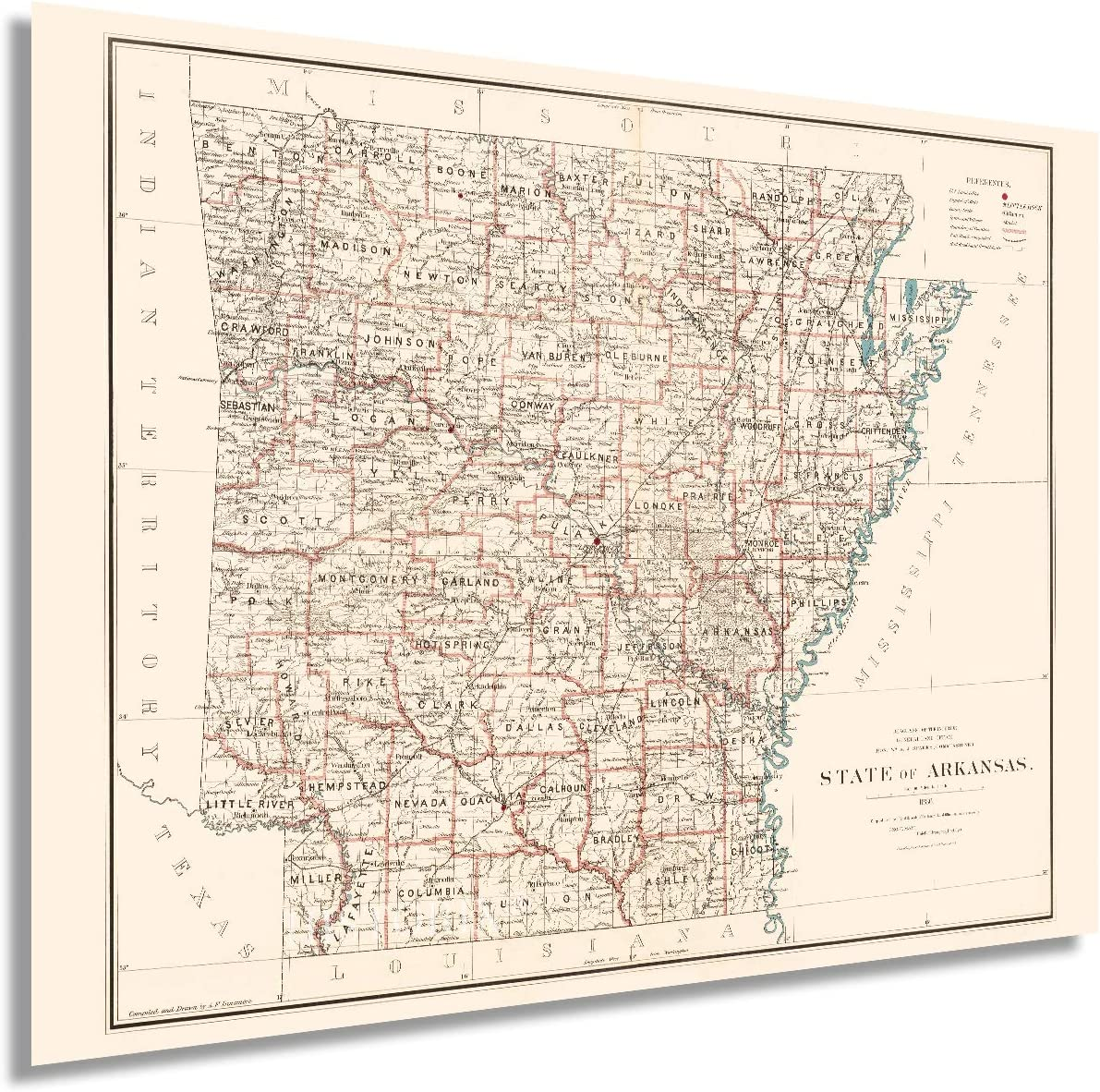 HISTORIX Vintage 1886 Arkansas State 18x24 Over item handling Inch Map Animer and price revision - S