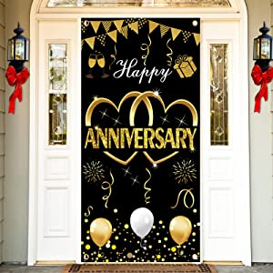 Kauayurk Happy Anniversary Door Banner Backdrop Decorations - Large Wedding Anniversary Party Door Cover Sign Supplies - Black Gold Anniversary Photo Booth Poster Decor