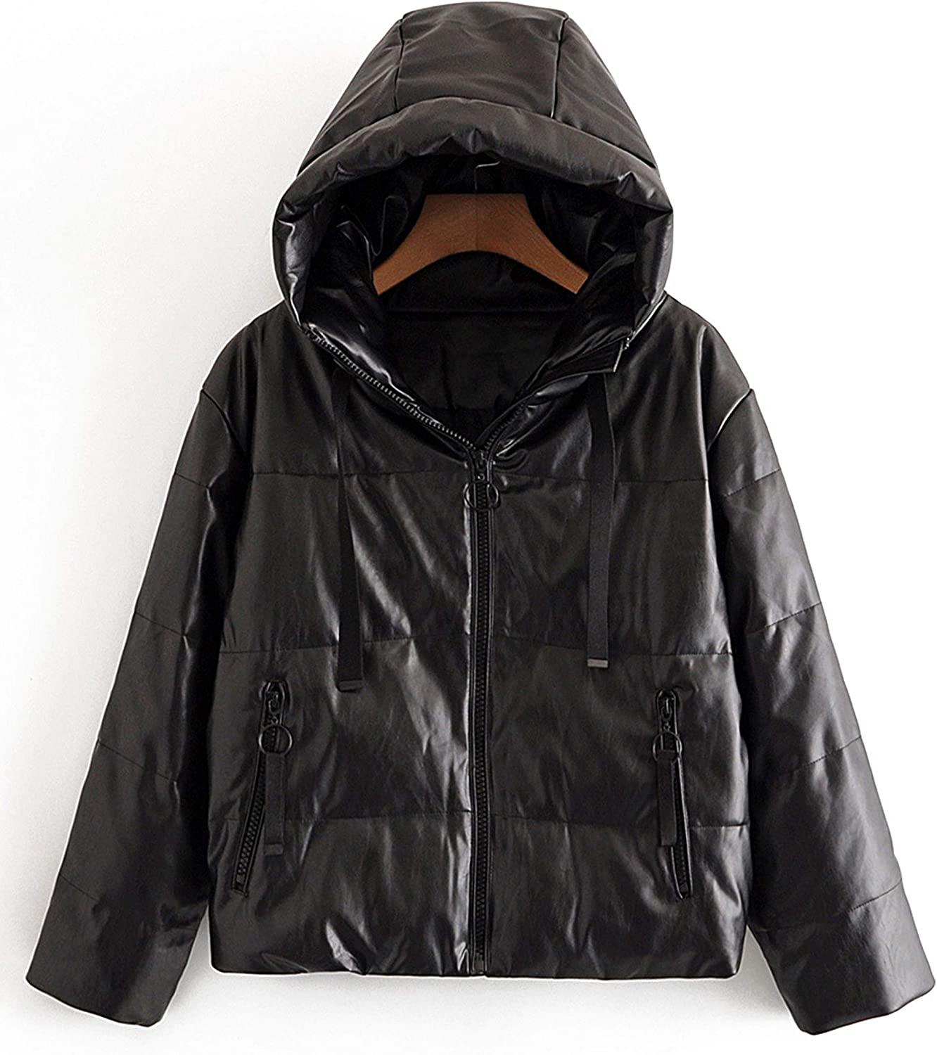 Uaneo Womens Faux Leather Quilted Padded Full Zip Casual Hooded Puffer Jackets(Black-L)