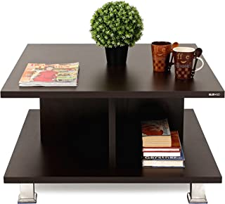 BLUEWUD Sydney Engineered Wood Coffee Table/Centre Table with Shelves (Wenge)