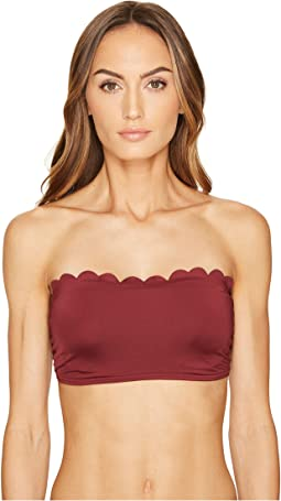 Kate Spade New York - Core Solids #79 Scalloped Bandeau Bikini Top w/ Removable Push-Up Pads & Straps