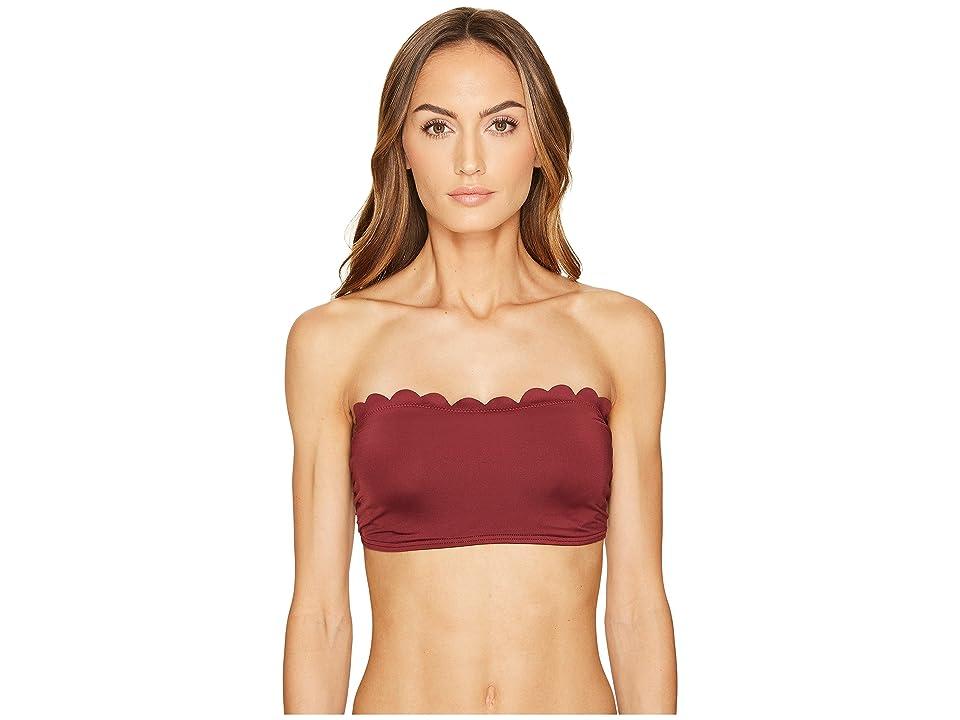 Kate Spade New York Core Solids #79 Scalloped Bandeau Bikini Top w/ Removable Push-Up Pads Straps (Sumac) Women