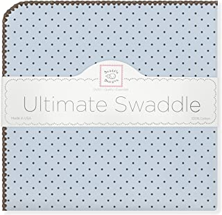 SwaddleDesigns Ultimate Swaddle, X-Large Receiving Blanket, Made in USA Premium Cotton Flannel, Brown Polka Dots on Pastel Blue (Mom's Choice Award Winner)
