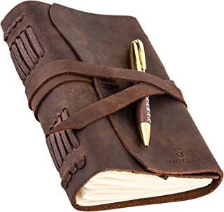 $21 » Leather Journal for Mens Womens - Leather Bound Journal - Genuine Brown Leather Travel Journal - Personalized Sketchbook - Refillable Soft Diary - Real Handmade Vintage Writing Notebook - Journal Set