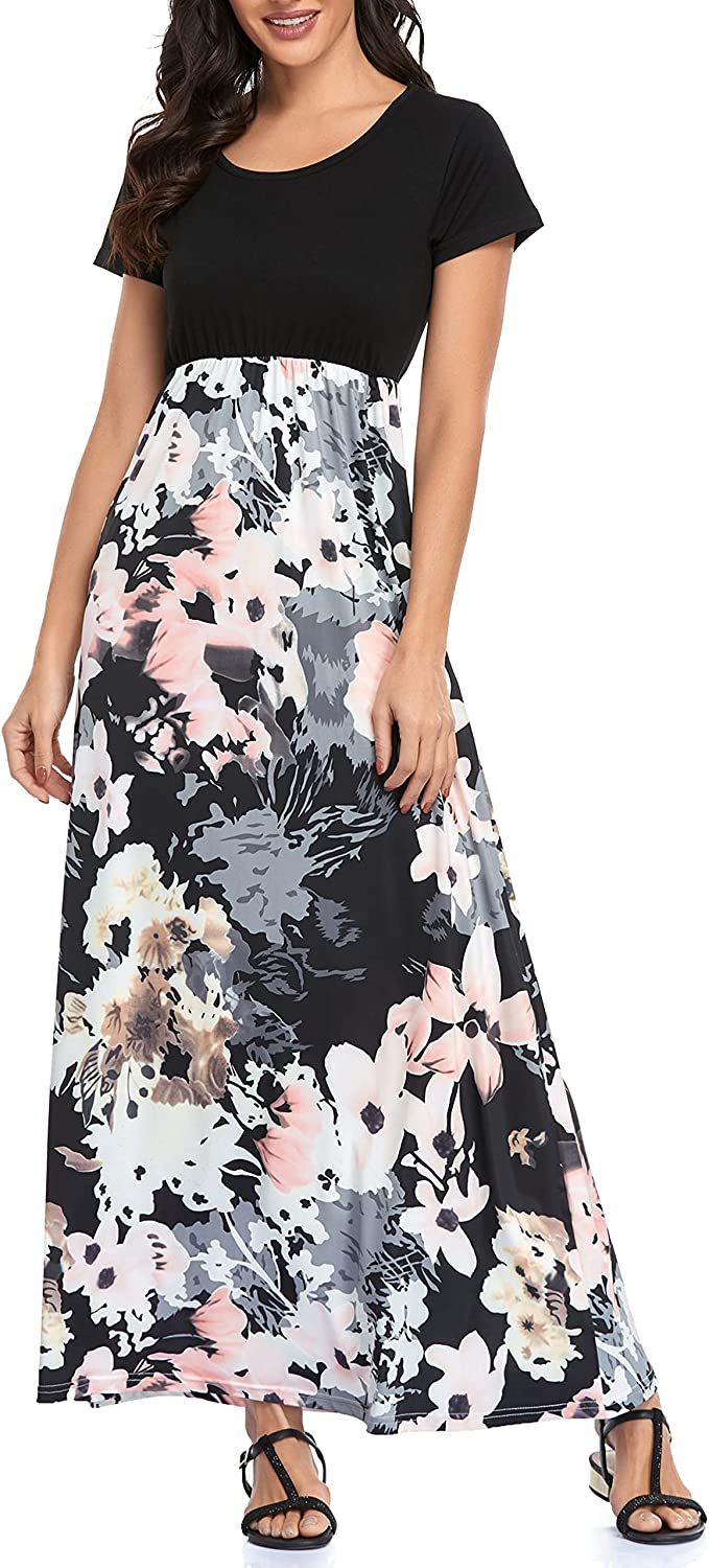 Lacavocor Womens Short Sleeve Maxi Dresses Empire Waist Casual Long Dress with Striped Floral Print