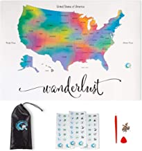 """Scratch Off Map of The United States   Deluxe Watercolor Wanderlust Edition   Large Size 24""""x 17""""   Easy to Frame   Beauti..."""