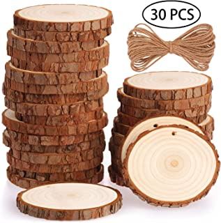 Fuyit Natural Wood Slices 30 Pcs 2.8-3.1 Inches Craft Wood Kit Unfinished Predrilled with Hole Wooden Circles Great for Arts and Crafts Christmas Ornaments DIY Crafts