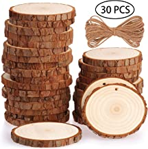 Fuyit Natural Wood Slices 30 Pcs 2.8-3.1 Inches Craft Wood Kit Unfinished Predrilled with..