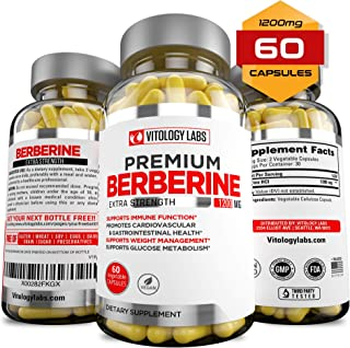 Premium Berberine Supplement 1200mg for Blood Sugar Glucose Metabolism, Weight Management, Immune System Boost, Insulin Support for Diabetes, Cardiovascular & Gastrointestinal Function - 60 Capsules