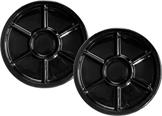 Party Essentials Soft Plastic 16-Inch Round Divided Catering Trays, Black, 2-Pack