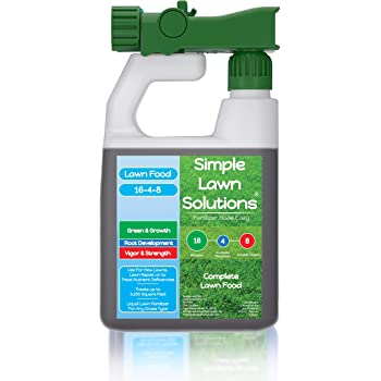 Advanced 16-4-8 Balanced NPK - Lawn Food Quality Liquid Fertilizer - Spring & Summer Concentrated Spray - Any Grass Type - Simple Lawn Solutions (32 Ounce)