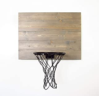 Weathered Grey Wood Basketball Hoop. Wall Mounted Indoor Basketball Hoop