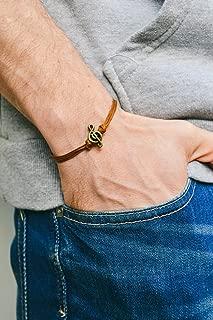 Treble clef bracelet for men, men's bracelet, bronze music note charm, brown cords, gift for him, musician bracelet, g clef, mens jewelry