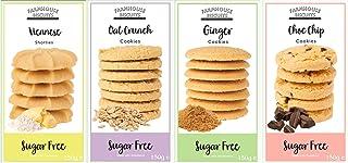 Farmhouse Biscuits Sugar Free Cookies - Selección de galletas sin azúcar de Farmhouse Biscuit: Shorts vieneses, galletas crujientes de avena, galletas de jengibre y galletas con chispas de chocolate