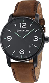 Wenger Men's Classic Stainless Steel Swiss-Quartz Watch with Leather Strap