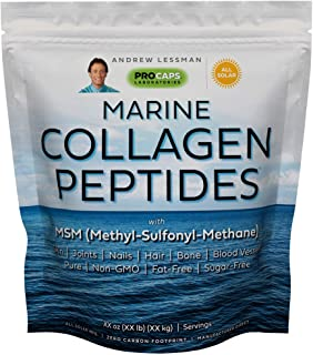 Andrew Lessman Marine Collagen Peptides Powder & MSM 240 Servings - Supports Radiant Smooth Soft Skin, Comfortable Joints....