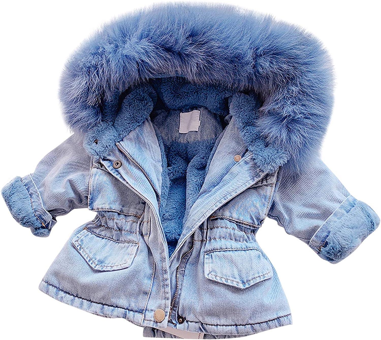 JSPOYOU Toddler Kids Baby Girls Hooded Faux Fur Fleece Warm Thick Denim Coat Outwear