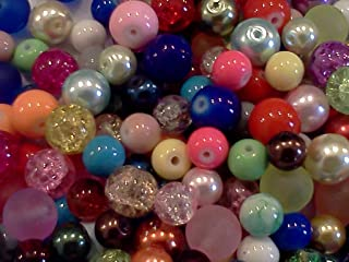 Half-pound Round Glass Beads, Assorted Colors, 6-10mm, Bulk Lot