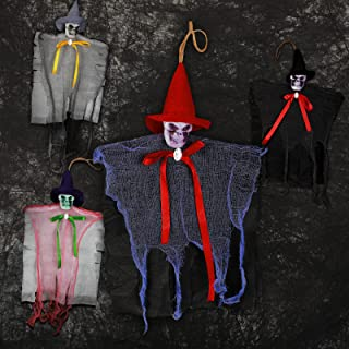 Sumind 4 Pieces Animated Halloween Decoration Hanging Grim Reaper Halloween Decor Realistic Scary Skull Ghost Hanging Skel...