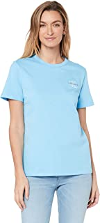 Calvin Klein Jeans Women's Monogram Embroidery Straight T Shirt, Alaskan Blue, M