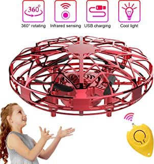 Mini Drones for Kids & Adults, RC UFO Helicopter with LED Lights, Hand Operated Easy Indoor Outdoor Small Orb Flying Ball Drone Toys Gifts for Beginners, Boys & Girls(Red)