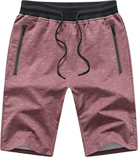 JustSun Men's Sports Shorts Cotton with Elastic Waist and Zip