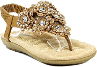 Erika92 Kids Mary-Jane Rhinestone Cut Out Flower Ankle Strap Wedge Dress Sandal Shoes