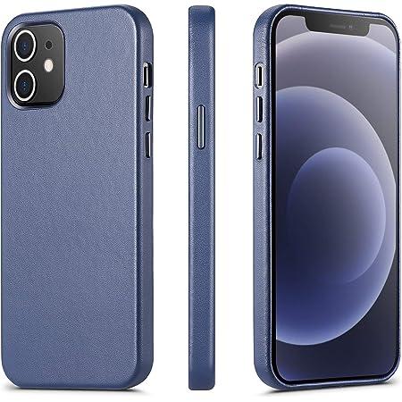 ILOFRI Compatible with iPhone 12 Mini Case, Premium Real Leather Case, Slim Non-Slip Grip Scratch Resistant Full Body Protective Case for iPhone 12 Mini, 5.4 inch - Blue