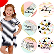 Whaline 6 Pack Birthday Badge Holographic Badges Pink Gold Pin Button Mental Happy Birthday Party Pin Badge for Birthday Party Favor T-shirt Cloths Hat Bag Women Men Kids