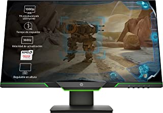 HP 25x - Monitor Gaming de 24.5'' Full HD (1920x1080,  TN,  16:9 HDMI 2.0,  DisplayPort 1.2,  1ms,  144 Hz,  AMD FreeSync,  Low Blue Light,  Ajustable en Altura),  negro y verde