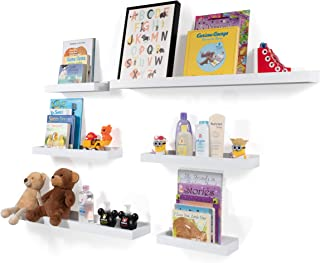 Wallniture Philly Set of 6 Varying Sizes Floating Shelves Trays Bookshelves and Display Bookcase – Modern Wood Shelving for Kids Room and Nursery – Wall Mounted Storage Bathroom Shelf (White)
