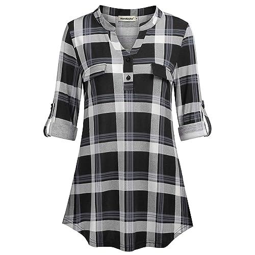 7b3906d20c9566 Nandashe Womens 3/4 Roll Sleeve Shirt V Neck Button Down Blouse Loose Tunic  Tops