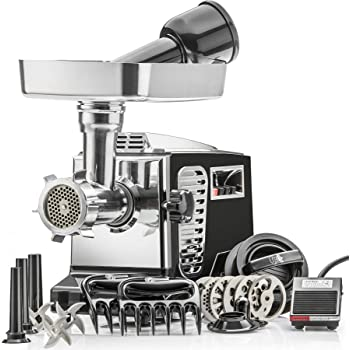"""STX Turboforce II""""Platinum"""" w/Foot Pedal Heavy Duty Electric Meat Grinder & Sausage Stuffer: 6 Grinding Plates, 3 S/S Blades, 3 Sausage Tubes, Kubbe, 2 Meat Claws, Burger-Slider Patty Maker - Black"""