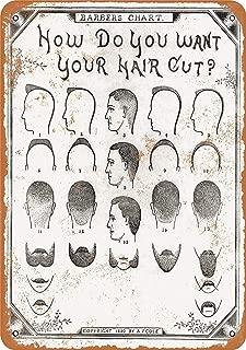 Treasun 12 x 16 Inches Metal Sign - 1890 Barber Haircut Chart - Vintage Look Wall Decoration
