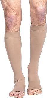 SIGVARIS Men's & Women's Essential Cotton 230 Open Toe Calf-High Socks 20-30mmHg