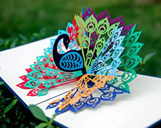 CUTPOPUP Peacock Bird 3D Pop-Up Greeting Card – Charming Design, Hand Assembled Ideal for Birthdays, Mother day, Thank You, House Warming, Wedding or Anniversaries – With Card Holder (Dark Blue)