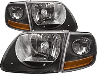 HEADLIGHTSDEPOT Halogen Lightning Style Headlights Compatible with Ford Expedition F-150 Includes Left Driver and Right Passenger Side Headlamps (Black)