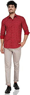 Gladiator Products Leafy Print All Over Shirt for Men (42, Maroon)