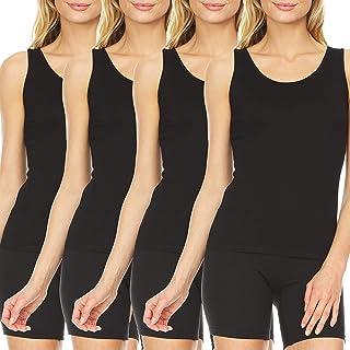 4 Pack: Women's Ultra Soft Modal Spandex Sleeveless Ladies Long Basic Layering Tank Top Camisole XS-3XL