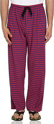 Fflirtygo Men's Cotton Pyjama Bottom, 100% Hosiery Cotton Export Quality Fabric, Red and Blue Striped Pyjama for Men, Men's Leisure Wear, Night Wear Pajama