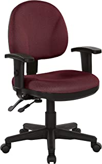 Office Star Ergonomic Sculptured Manager's Chair with Adjustable Arms, Diamond Wine Fabric