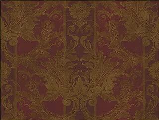 York Wallcoverings GL4727SMP Brandywine AIDI Damask Stripe 8-Inch x 10-Inch Wallpaper Memo Sample, Deep Red/Bronzed Gold/Dark Tan
