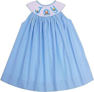Boutique Girls Hand Smocked Easter Eggs Bunny Bishop Doll Dress
