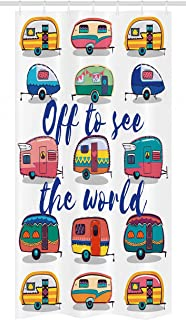 Ambesonne Camper Stall Shower Curtain by, Off to See the World Inspirational Quote on Mini Caravans Background Vintage Trip Image, Fabric Bathroom Decor Set with Hooks, 36 W x 72 L Inches, Multi