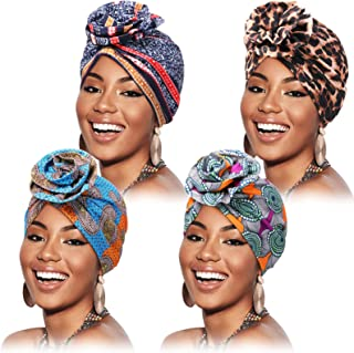 Syhood 4 Pieces Flower Turban Hats for Women Soft Pre-Tied Knot Headwraps African Pattern Turban Wraps Beanie Hats