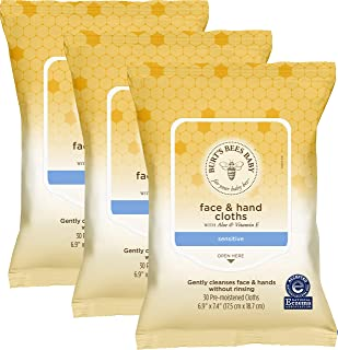 Burt's Bees Baby Face & Hand Cloths, 30 Count, (Pack of 12) (Packaging May Vary)